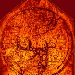 """Hereford Mappa Mundi 1300 Enhanced Dark Red Corner"" by TheNorthernTerritory"