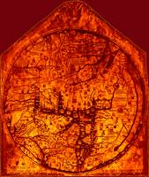 Hereford Mappa Mundi 1300 Enhanced Dark Red Corner
