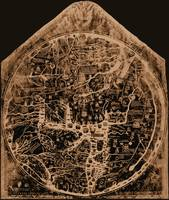 Hereford Mappa Mundi 1300 Negative Image Brown Tan