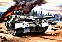Russain T 80 Tanks in Action