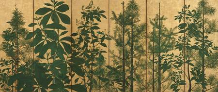 Trees, early Edo period (ink, colour and gold on p