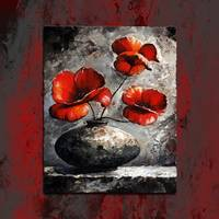 Poppies style  gray red
