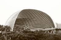 Esplanade theater Singapore bw
