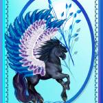 """Blue Winged Pegasus Oval"" by Lotacats"
