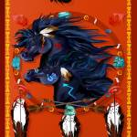 """Large Poster Two Black Horses Mandala"" by Lotacats"
