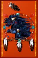 Large Poster Two Black Horses Mandala