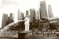City and Merlion , monochrome Singapore