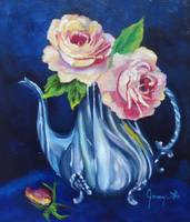 Two Roses in a Silver Teapot