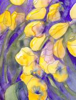 Yellow tulips on purple watercolor abstract