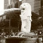 """merlion Singapore, monochrome"" by sghomedeco"