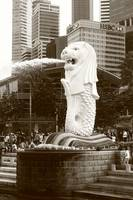 merlion Singapore, monochrome