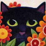 """black cat n flowers 2"" by vickymount"