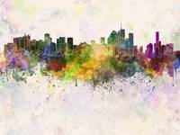Brisbane skyline in watercolor background