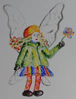 fairy in leaf green and yellow jacket