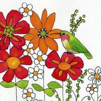 Hummingbird on a Petal Art Prints & Posters by Blenda Tyvoll