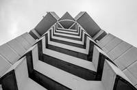 zig zag spiral stair on highrise building emergenc