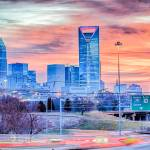 """charlotte the queen city skyline at sunrise"" by digidreamgrafix"