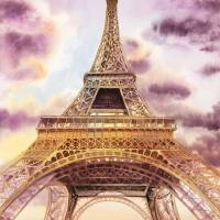 Eiffel Tower Evening in Paris Art Prints & Posters by Irina Sztukowski