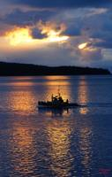 Fishing boat during sunset