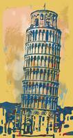 Leaning Tower Of Pisa - Pop Stylised Art Poster