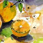 """Oranges and Bees Modern Decor"" by GinetteCallaway"