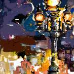"""Paris Street Lantern Modern Abstract"" by GinetteCallaway"