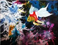 Fancytail Goldfish in Acrylic and Oilsa