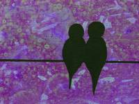Birds on a Wire in Purple