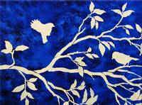 Birds in a Tree Branch in Royal Blue