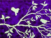 Birds in a Tree Branch in Purple