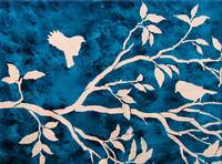 Birds in a Tree Branch in Blue