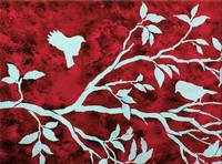 Birds in a Tree Branch in Red