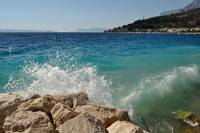 Waves on beach in Podgora, Croatia