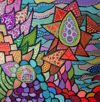 Mosaic inspired colorful abstract painting
