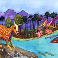 Dinosaur Scene Art Prints & Posters by Linda Knoll