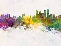 Busan skyline in watercolor background