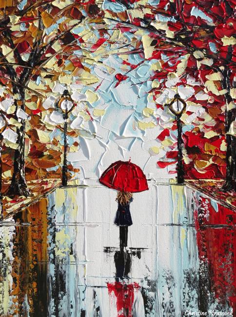 Abstract nyc artwork for sale on fine art prints for Painting red umbrella
