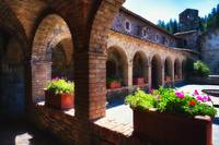 Colonnade Of An Old World Castle In Napa Valley