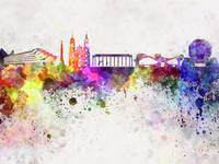 Minsk skyline in watercolor background