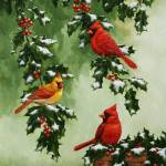 """Cardinals and Holly"" by csforest"