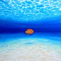 lone-orange-fish-in-a-big-blue-sea-by-gill-bustama