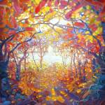 """clearing-in-an-autumn-wood-painting by Gill Bustam"" by gillymissile"