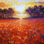 """oil-painting-of-sunset-over-poppy-field painting b"" by gillymissile"