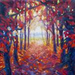 """autumn-path-to-a-better-place-painting by Gill Bus"" by gillymissile"
