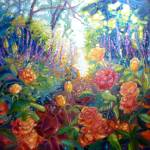 """english-summer-garden-painting by Gill Bustamante,"" by gillymissile"
