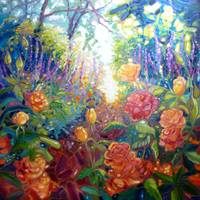 english-summer-garden-painting by Gill Bustamante,