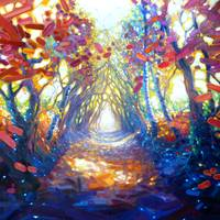 woodland-path-to-somewhere-wonderful painting by G