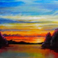 Lakeshore Sunset Art Prints & Posters by Christine K. Jones