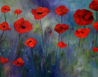 Red Poppies Blue Fog