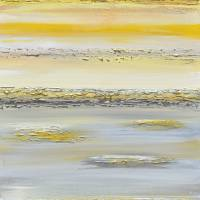 """""Summer Reflections"" Yellow Grey Abstract"" by ChristineKrainock"